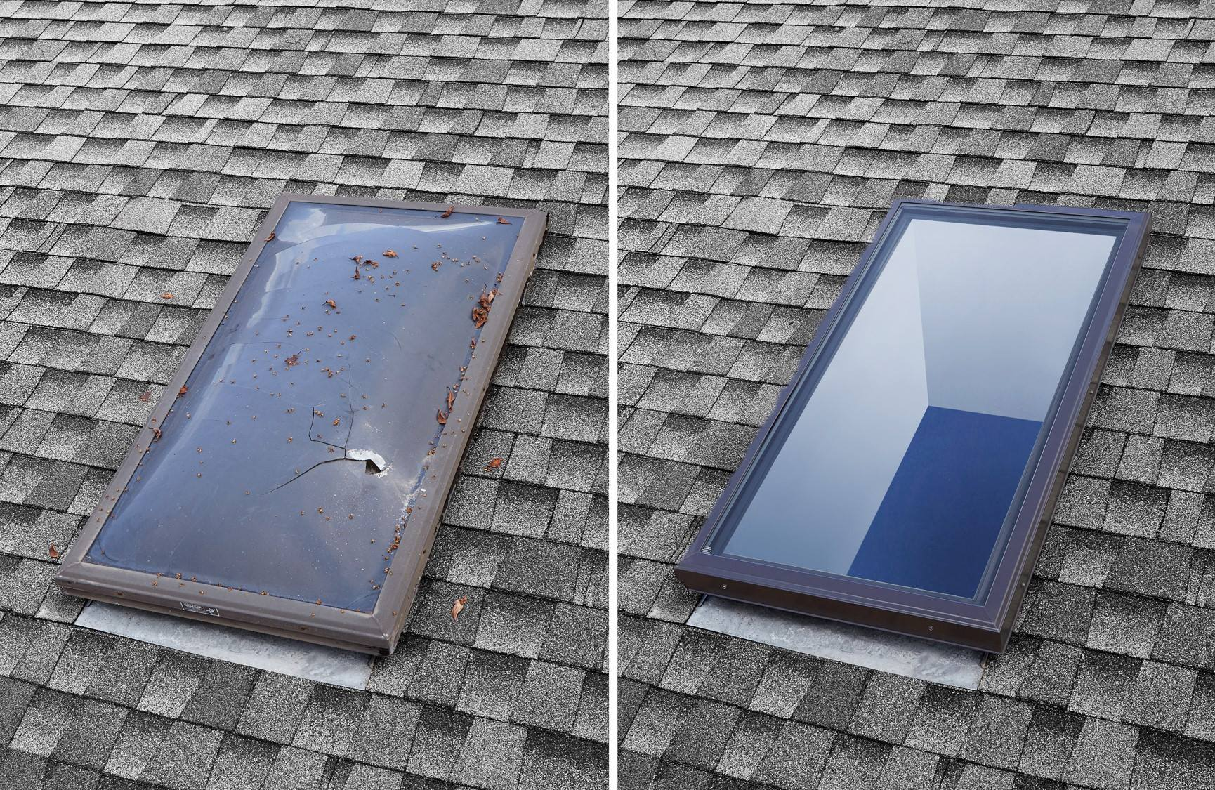 Before and after skylight replacement West Covina, CA